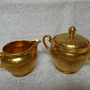 "Wheeling  ""Doves, Daisies & Roses""  AOG (All Over Gold)  Cream & Sugar Set"