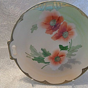 REDUCED Imperial Austria Hand Painted Large Poppy Plate with Handles