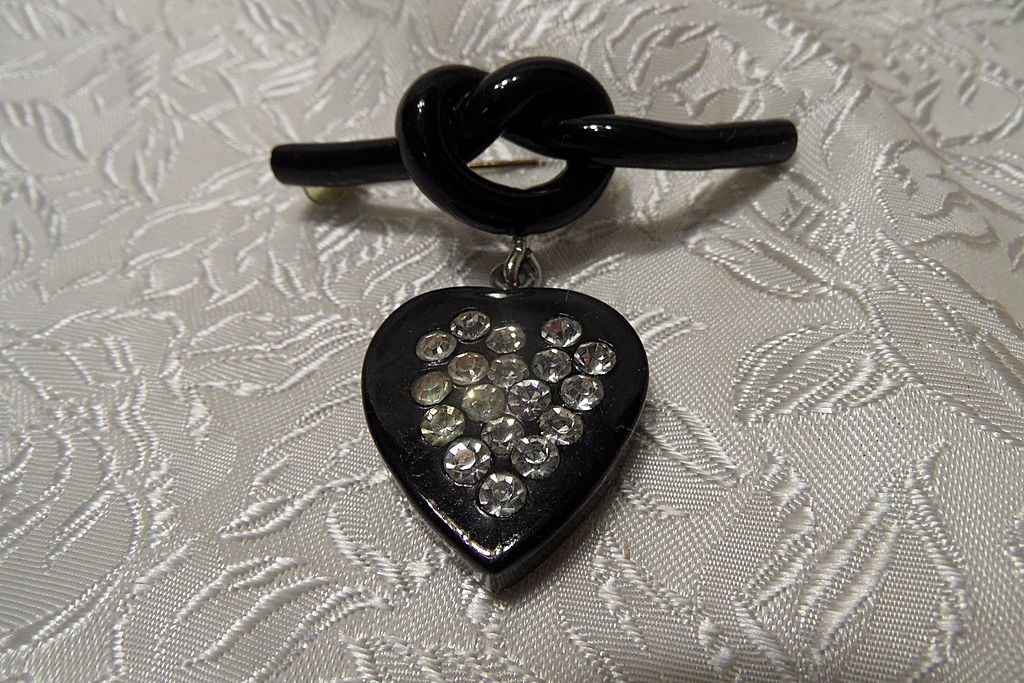 Cutest vintage Black Celluloid Love-knot & Heart with Rhinestones Brooch