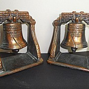 Vintage Cast Bronze Copper Finish LIBERTY BELL Book Ends