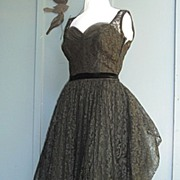 SALE A Wow 1950's Black Lace & Tulle Evening Cocktail Party/Prom Dress