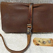 Antique Extra Large Leather Fly Fishing Pouch/Wallet & Flies