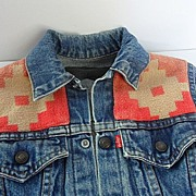 Vintage LEVI'S  Child's Jean Jacket Customized with Old Indian Blanket