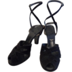 1940's Swing Platform Black Suede High Heel Shoes with Ankle Wrap Straps