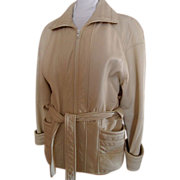Leather Belted Coat Jacket &quot;Winter White&quot; by Jacobson's USA~XS