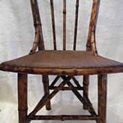 SALE Rare Antique Victorian Japanned Child's  Fine Woven Seat Bamboo Chair