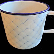 SALE 50% OFF Rare Blue Chicken Wire Pattern 1910 German Graniteware Cup