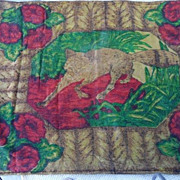 "Antique ""Strook"" Wool Mohair FOX & ROSES Buggy Carriage Lap Blanket"