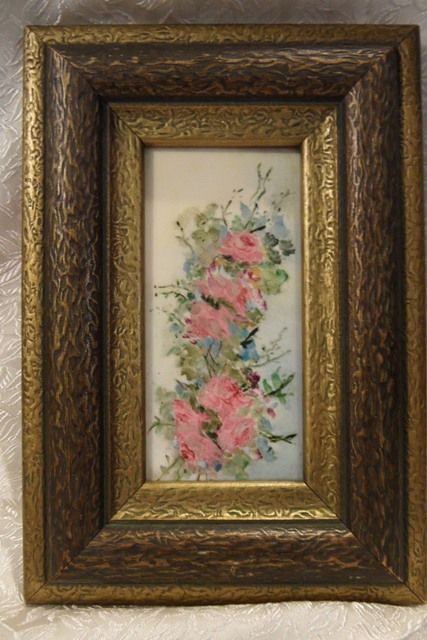 Vintage WHEELING Hand Painted Floral Framed Tile Picture
