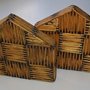 Matchstick Book Ends - Folk Art - Prison Art