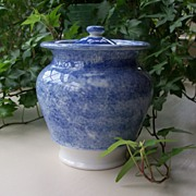 Blue and White Spatterware Sugar
