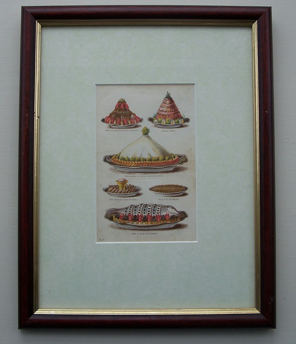 Hand-Colored Book Plate - Fish and Seafood