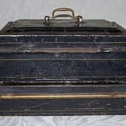 Antique Document Box - Black Painted Tin (2)