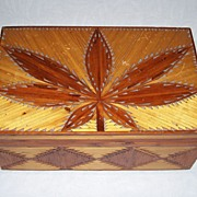 Matchstick Cannabis Leaf Box - Folk Art