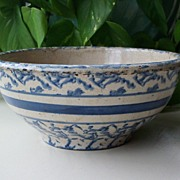 Blue and White Spongeware Bowl - 8""