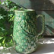 McCoy Green Pitcher - Floral Basketweave Design