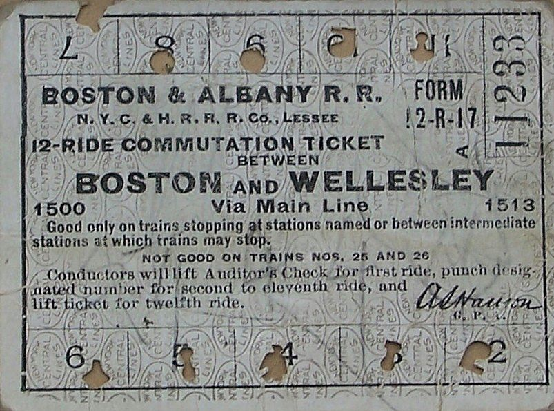 Train Ticket - Boston & Wellesley, Massachusetts