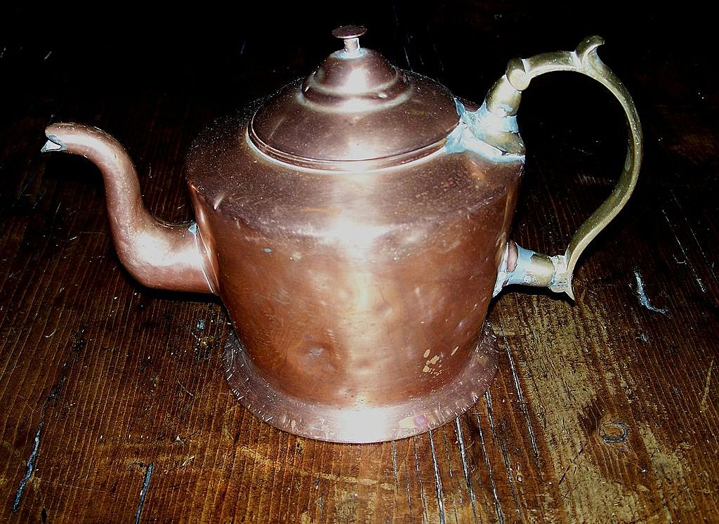 Copper Tea Pot - Brass Applied Handle