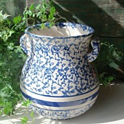 Antique Blue and White Spongeware Chamber Urn with Handles