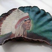 American Indian Chief Painting on Large Tree Fungus