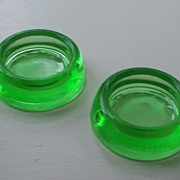 Green Glass Round Furniture Casters - Depression Era