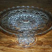 Pressed Glass Cake Stand on Pedestal - Ruffled Edge