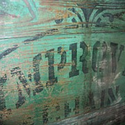Antique Primitive Wooden Pump Cover - Green Paint