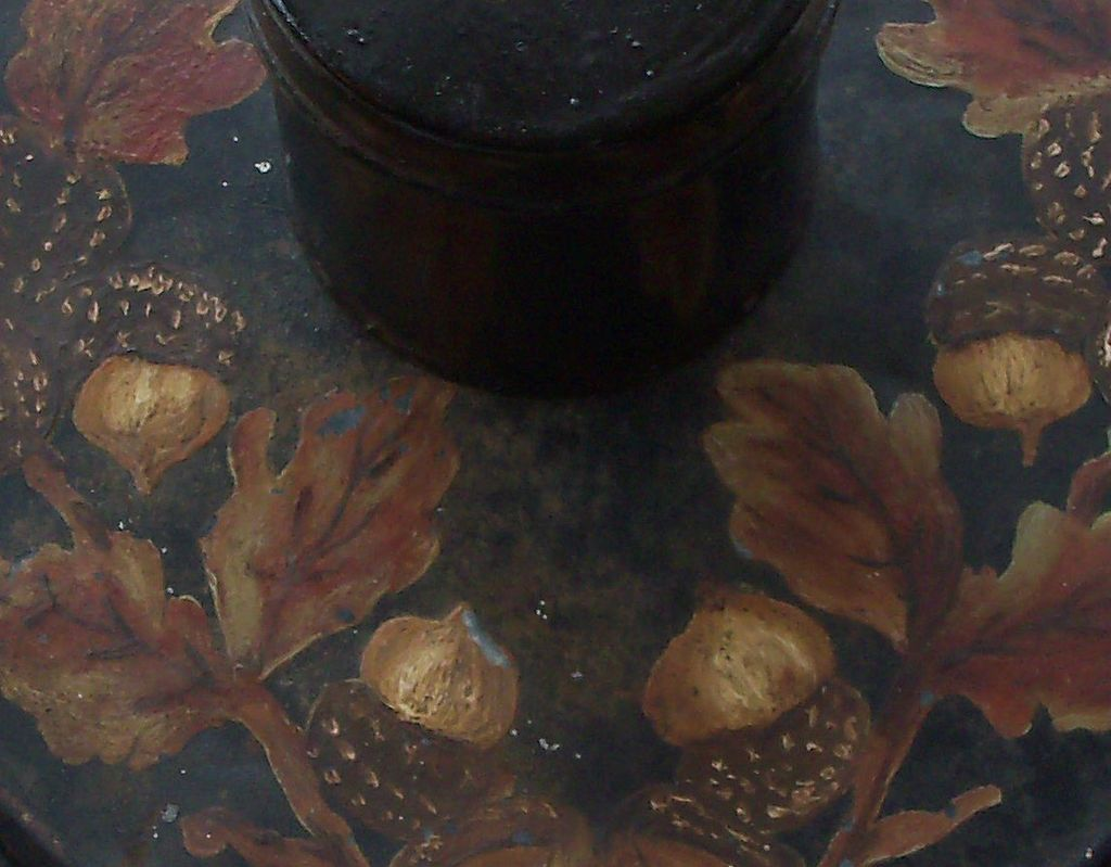 Black Spice Tins with Round Box - Painted Acorns & Leaves