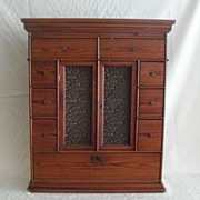 Antique Hanging Spice Cupboard with Glass Doors