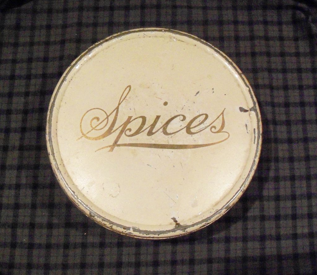 Spice Tin - Cream Ivory with Gold Lettering