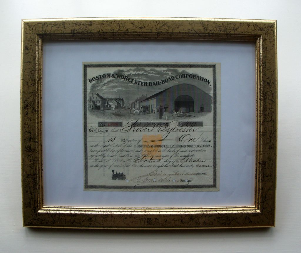 Boston & Worcester Rail Road (1867) Stock Certificate