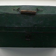 Antique Primitive Dome Top Tool Carrier - Green Paint