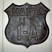 Maine US Route 1A Highway Sign - Shield Design