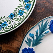 Blue Plate Collection (Painted Raised Floral, Freehand Border)