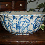 Antique Blue and White Spongeware Bowl - Ribbed Sides
