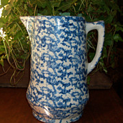 Antique Blue & White Spongeware Pitcher - Embossed Diamond Base