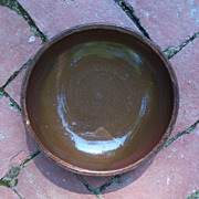 Antique Redware Glaze Plate -  7 1/4&quot; - (Brown Glaze)