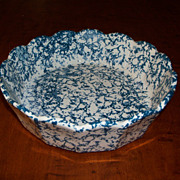 Vintage Blue and White Spongeware Baking Dish - McCoy