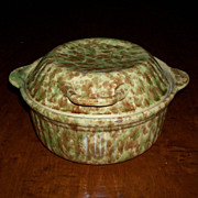 Green & Brown Spongeware Covered Casserole - Morton Pottery - Woodland Glaze