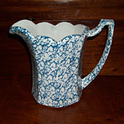 Vintage Blue and White Spongeware Pitcher - McCoy