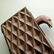 Folk Art Carved Book with Pop-up Snake