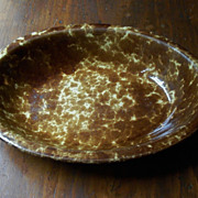 Antique Rockingham Bennington Pottery Oval Serving Bowl - 10 3/4""