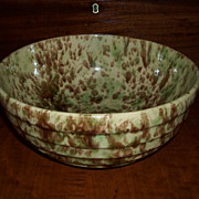 Green & Brown Spongeware Bowl - Morton Pottery - Woodland Glaze