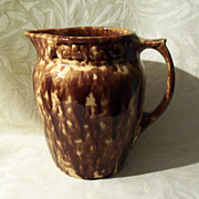 Antique Rockingham - Bennington Pottery Pitcher - Banded Scroll