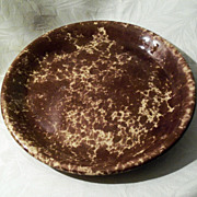 Antique Rockingham - Bennington Pottery Pie Plate - 10 3/4""
