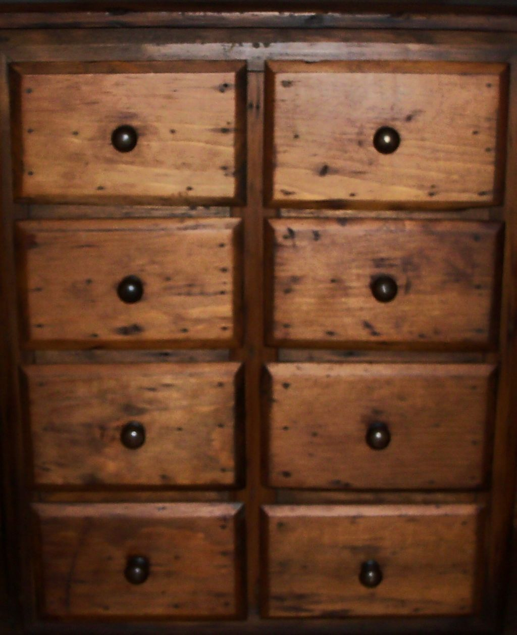Antique Primitive Spice Chest - Eight Drawers
