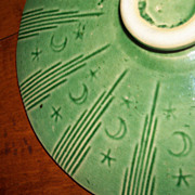 Green Glaze Yellow Ware - Moon & Star Covered Casserole Bowl - Watt Pottery
