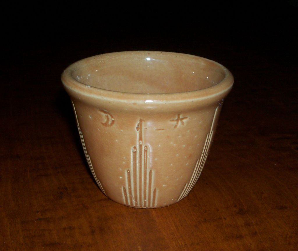 Pumpkin Glaze Yellow Ware - Moon & Star - Custard Cup - Watt Pottery
