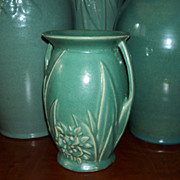 Aqua Glaze Double Handle Vase - Leaves & Flowers - Art Pottery