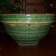 "Green Glaze - Windowpane Bowl  9 1/2"" - McCoy Pottery"